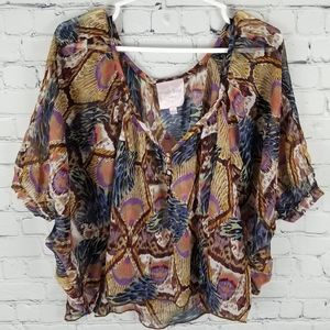 ROMEO & JULIET COUTURE | flowy sheer print blouse